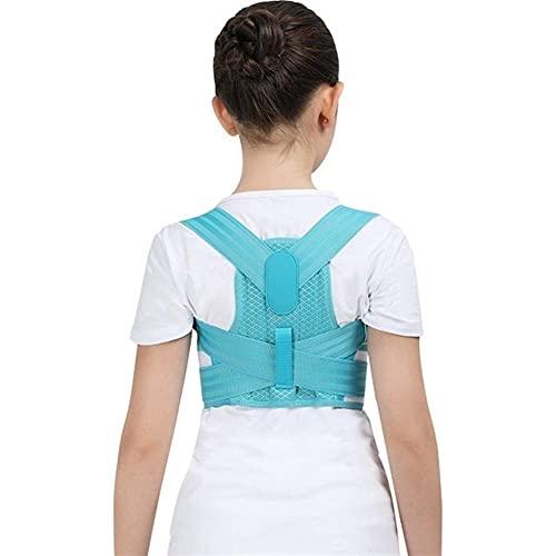 Corrector de postura ajustable para niños Cinturón de soporte para la espalda Corsé ortopédico para niños para niños Columna vertebral Espalda Lumbar Tirantes para hombros Salud (Color: Azul,