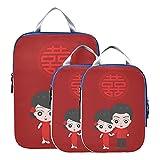 Organizadores de embalaje de viaje Cubo de embalaje de compresión de amor de novio de dibujos animados chinos Cubos de embalaje expandibles para equipaje de mano, viajes (juego de 3)