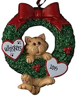 Orange Tabby Cat Glitter Wreath Personalized - (Unique Christmas Tree Ornament - Classic Decor for A Holiday Party - Custom Decorations for Family Kids Baby Military Sports Or Pets)