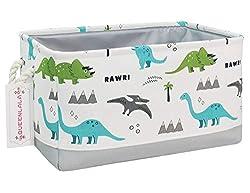 9. QUEENLALA Rectangular Dinosaur Park Laundry Hamper