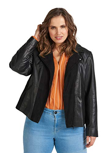 Zay Damen Große Größen Lederjacke mit Reissverschluss und Wildleder Gr 42-56