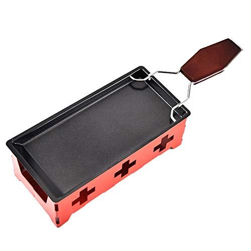 Red tide Non-Stick Fromage Raclette Métal Plat De Cuisson, Four Grill Plaque De Cuisson Rotaster Plateau Poêle Cadre Spatule Set Cuisine Cuisson Outil,Rouge