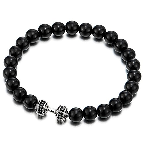 COOLSTEELANDBEYOND Herren Damen Wulst Armband aus 8MM Schwarz Onyx mit Schwarzen Zirkonia Langhantel Hantel, Prayer Mala