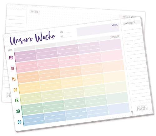 4-spaltiger Family Wochenplaner Block A4 [Rainbow] mit Essensplan und Einkaufsliste, 50 Blatt| Familien-Planer mit extra viel Platz für Notizen und TO Dos | nachhaltig & klimaneutral