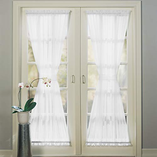 """No. 918 Emily Sheer Voile Single Curtain Door Panel, 59"""" x 72"""", White"""