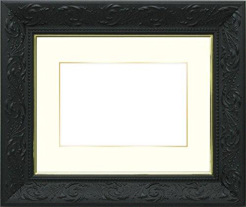 写真用額縁 チャタレー/黒 ハガキ(152×102mm) ガラス マット付(金色細縁付き) マット色:クリーム