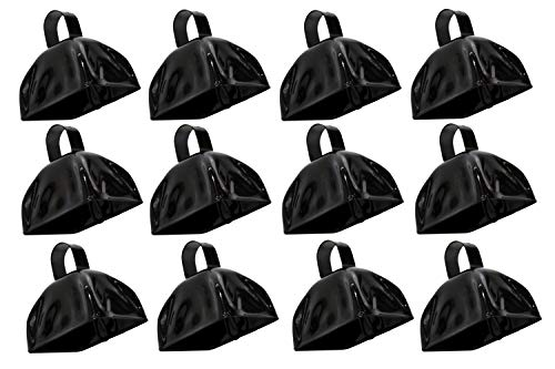 3 Inch Metal Black Cowbells 12 Pack