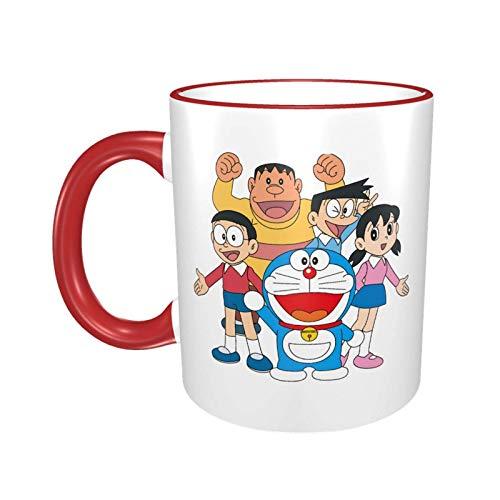 niushan Doraemon - Taza de café de cerámica, taza de té grande para oficina, hogar, 11 oz, apta para lavavajillas y microondas, 1 unidad (blanco)