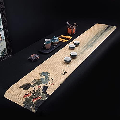 Corredores De Mesa De Pintura De Arte De Bambú Natural, Placas De Rectángulo Lavables para La Mesa De Café De Larga Duración, Mesa De Té De La Mesa De Té De La Mesa De Té(Size:30×180cm)