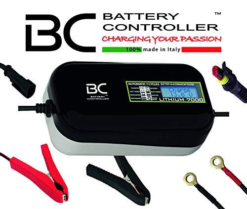 BC LITHIUM 7000-12V 7A - Automatisches digitales Batterieladegerät und Erhaltungsgerät für Lithium-/LiFePO4-Batterien + Batterie- und Lichtmaschine-Testgerät