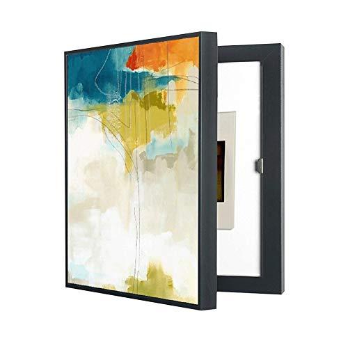 Arte astratta Minimalista Flip Cover Quadro strumenti elettrici Pittura decorativa, appeso parete del soggiorno Macchia crepa Cornice verticale Immagine di copertura, Scatola di giunzione multimediale