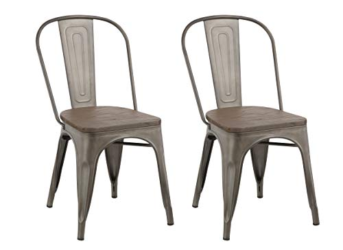 BTExpert Industrial Metal Vintage Tabouret Antique Copper Bronze Rustic Distressed Dining Bistro Cafe Stackable Side Chair (Set of 2), White