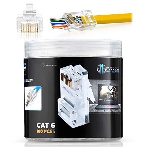RJ45 Cat6 Pass Through Connectors Pack of 100/Jar | EZ Crimp Connector UTP Network Unshielded Plug for Twisted Pair Solid Wire & Standard Cables | Transparent Passthrough Ethernet Insert