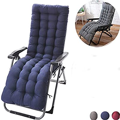 Sun Lounger Chair Cushions, Sundlight Patio Cushions Chaise Patio Outdoor Mattress Garden Recliner Quilted Thick Padded Seat Cushion Reclining Chair Rocking with Ties (Dark Blue)