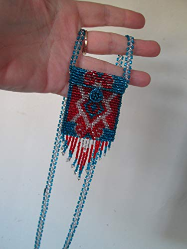 blue silver red white geometric Hand beaded Guatemalan central american Native medicine bag stash pouch necklace fair trade southwest glass beads Aztec Indian design Ethnic bead