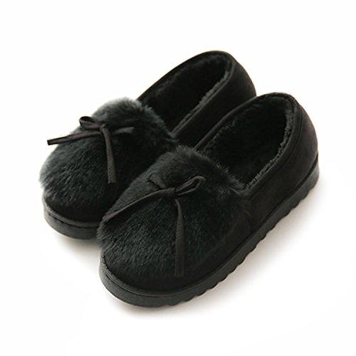 [KMAZN] ルームシューズ レディース もこもこ あったか ファー モカシ 防寒 可愛い 暖かい ローヒール スニーカー 室内履き 靴 秋冬靴 (23.0cm, ブラック)