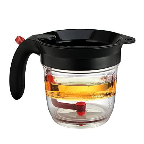 Fat Separator with bottom release 4 Cup Oil Separator for Gravy Soup With scale 32oz measuring cup with Filter