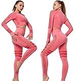 C K CrisKat Conjunto de Ropa Deportiva para Mujer Top de Running de Manga Larga de 2 Piezas Sin Costura Pantalones de Cintura Alta Yoga Gym Wear (Rosa, L)