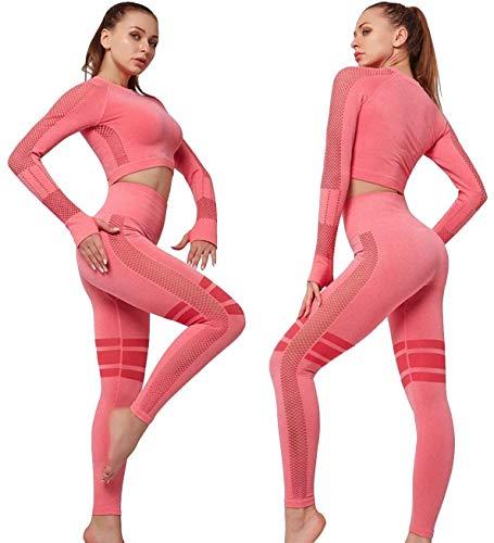 C K CrisKat Set di abbigliamento sportivo da donna, top da corsa a maniche lunghe, 2 pezzi, senza cuciture, pantaloni a vita alta, per yoga e palestra Rosa L