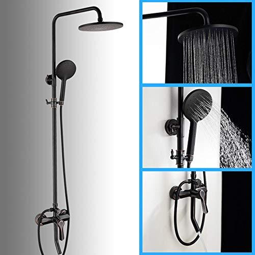 Cabezales de ducha Sistema de ducha con rociador de tapa redonda de 20 cm 3 modos Grifo de ducha de elevación de latón negro Conjunto de ducha fría y caliente