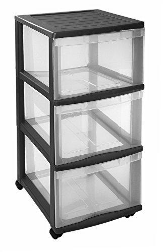 Sundis Optimo Schubladenturm mit 3 Schüben und Rollen, Kunststoff (PP), transparent / schwarz, 38.5 x 30 x 65.5 cm (LxBxH)