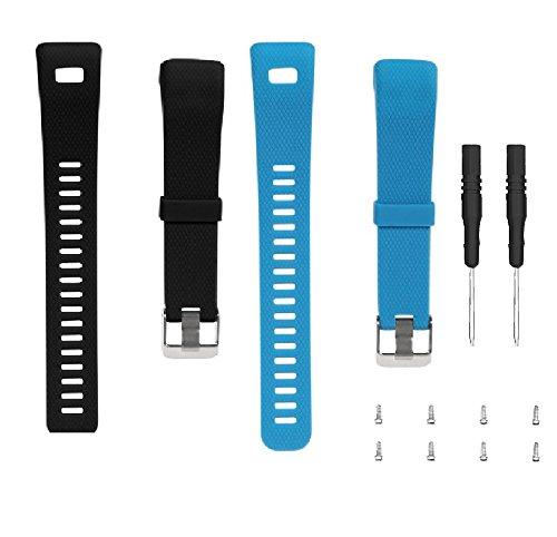 WEINISITE Armband für Garmin vívosmart HR +, Soft Silikon Ersatzarmband für Garmin vívosmart HR Plus (Schwarz+blau)
