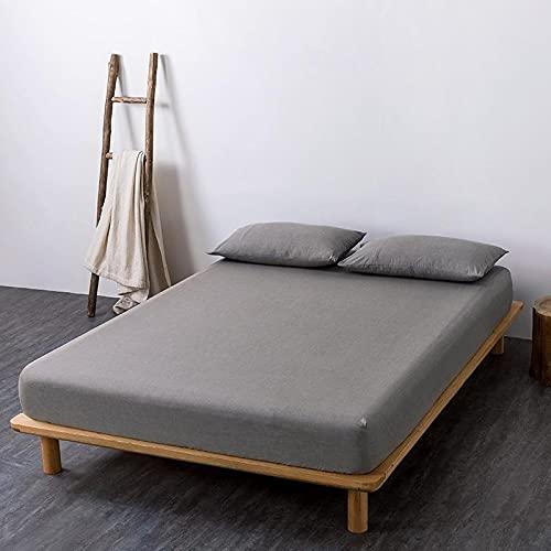 GuLL Sábana bajera ajustable, 100% algodón, para colchón de hasta 30 cm de altura, color gris claro, 180 x 200 cm