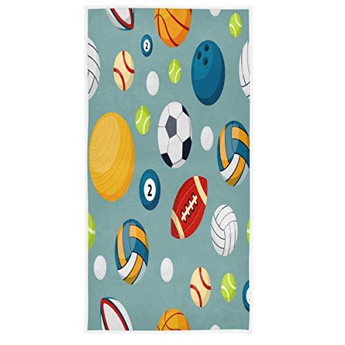 MCHIVER Handtücher für Badezimmer, Baumwolle, Basketball, Fußball, Volleyball, Rugby, Badetuch, weich, sehr saugfähig, Handtücher für Spa, 38,1 x 76,2 cm