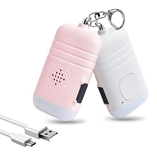 Alarme personnelle Safesound - 2 Pack 130dB USB Rechargeable Porte-clés De Sécurité Sirène Dispositifs de Protection avec Lumière LED D'Urgence pour Filles Enfants et Personnes âgées (Blanc et Rose)