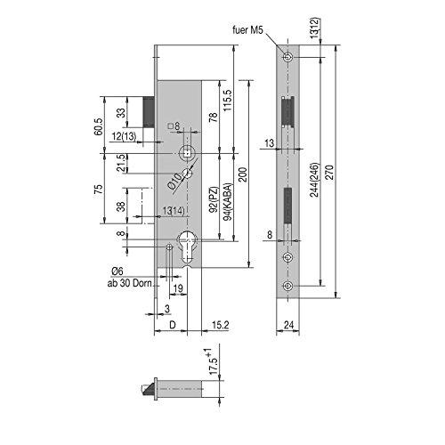 WSS Rohrrahmen-Schloss | Dornmaß: 45 mm | Stulpe 270 mm flach Edelstahl | 1 Stück