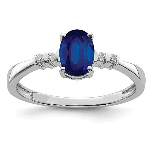 925 Sterling Silver Diamond Sapphire Oval Band Ring Size 9.00 Gemstone Fine Jewellery For Women Gifts For Her