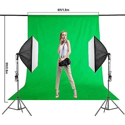 EMART 1.8 x 2.8m Grünes Tuch, Video Studio Grün Hintergründe, Chromakey Greenscreen, Grüne Hintergrundstoff mit 4 Hintergrund Clip für Fotografie, Fotostudio, Videoaufnahme, Modefotografie
