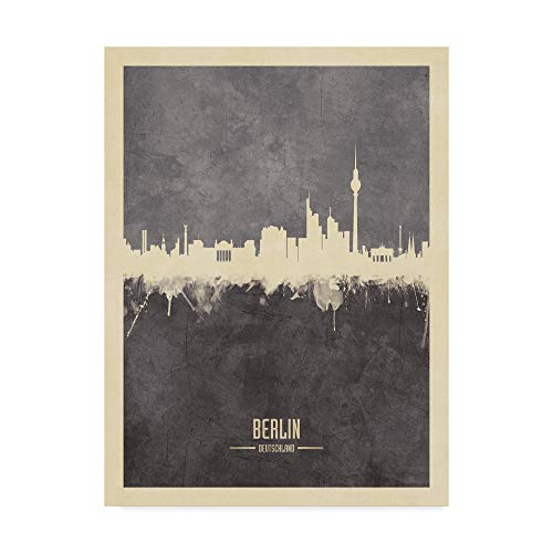 Trademark Fine Art Berlin Germany Skyline Gray by Michael Tompsett, 18x24