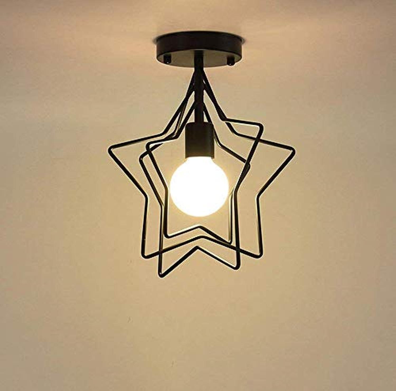 Led Unterbauleuchte Lichtleiste DeckenlampeGoldenes Metall Fünfzackiger Stern Halbbündige Deckenleuchte Pendelleuchte Galvanik Schmiedeeisen Finish Perfekter Gang Foyer Dekoration (Farbe  Schwarz)