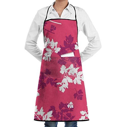 Tablier de Cuisine étanche avec Poches Tablier de Cuisine réglable Modélisme avec des feuilles de persil pour Cuisine Familial,Restaurant,Jardin