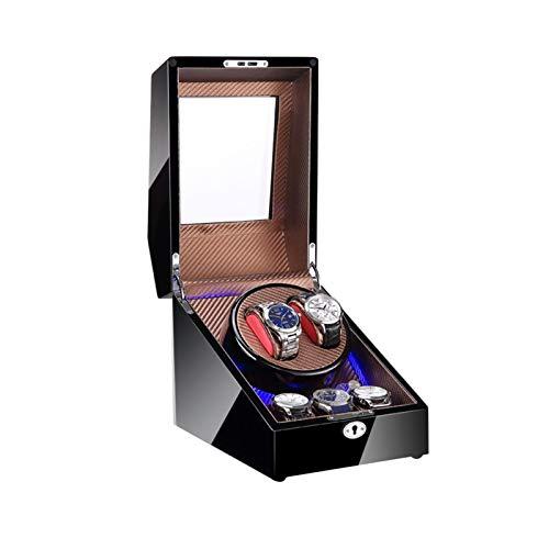 Cajón para guardar relojes y joyas Reloj Winder para 2 relojes + 3 Almacenamiento, Luz LED, Concha de madera y Cuero de fibra de carbono, Motores, Fit Dama y Hombre Relojes Estuche de almacenamiento d