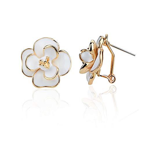 Classic Enamel Camellia Clip Earrings Elegant Flower Hypoallergenic Non Pierced Earrings 925 Silver Stud Earrings for Women Girl Bridal (White Stud)