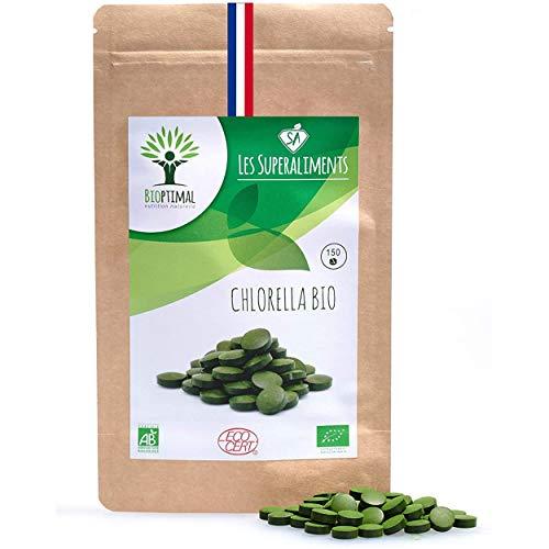 Chlorella bio | 150 comprimés | Complément alimentaire | Superaliment | Fer Protéines B12 | Bioptimal - nutrition naturelle | Conditionnée, Contrôlée, Analysée en France | Chlorelle certifiée Ecocert