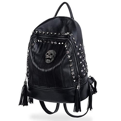 UTO Skull Fashion Backpack PU Leather Rucksack Rivet Studded Tassel Zipper Shoulder Purse