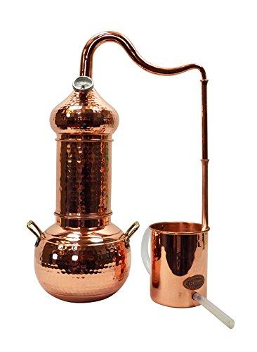 Copper Garden Kupfer Destille Essence Plus 2 Liter I Kleindestille mit Aromakorb zur Kolonnenbrennerei I Legales Destilliergerät für ätherische Öle/Hydrolate/Düfte/destilliertes Wasser etc.