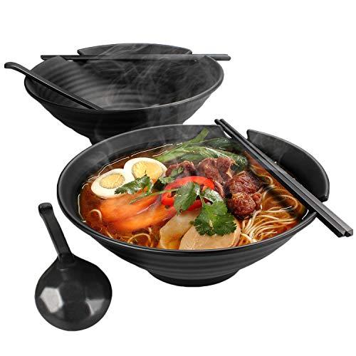 BJF 2 Sets Japanischen Ramenschalen, 1600 ml Große Suppenschüsseln mit Essstäbchen und Löffel, Melamin Hartplastik Schüssel, Udon Suppenschalen für Nudeln, Suppen, Salat, Asiatische Küche (Schwarz)…
