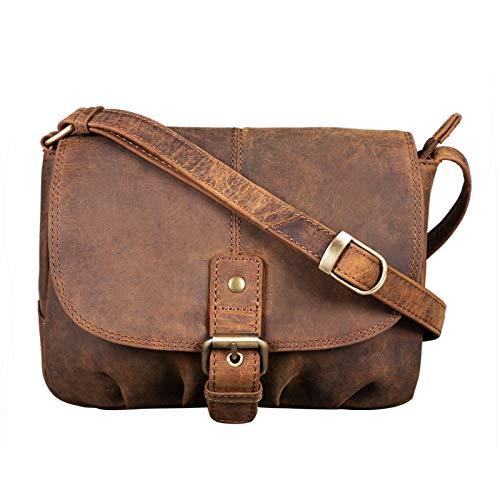 STILORD 'Iris' Leder Handtasche Damen klein Vintage Umhängetasche zum Ausgehen Klassische Abendtasche Partytasche Freizeittasche Echtleder, Farbe:mittel - braun