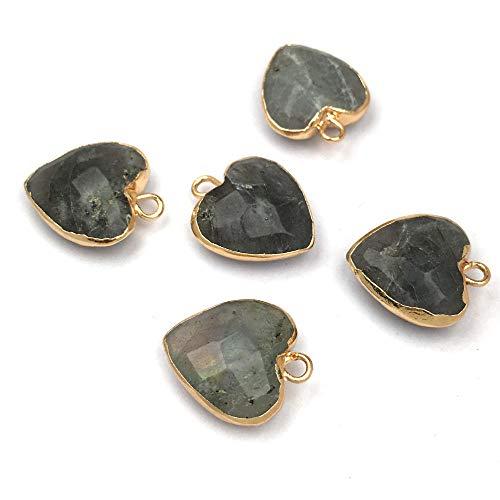 N/V 2 uds Colgante de Piedra Natural Colgante en Forma de corazón para encantos de fabricación de Joyas DIY Accesorios para Pendientes de Collar 14x17 y 15x18mm