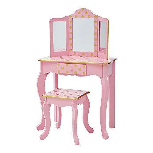 Teamson Kids Gisele Toy Vanity Set, Pink/Rose Gold Dot
