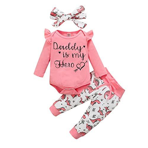 JERFER Neugeborenes Säugling Baby Mädchen Drucken Strampler Bodysuit + Dinosaurier Hose + Stirnband einstellen A16