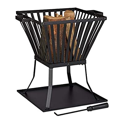 Relaxdays XL Fire Bowl with Poker for Patio & Garden, Drip Tray, For Wood, HWD 56 x 56.5 x 45 cm, Black from Relaxdays