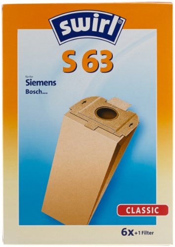 Swirl S 63 Spezialpapier Staubsaugerbeutel für Siemens und Bosch Staubsauger, Classic, 6 Stück inkl. Filter