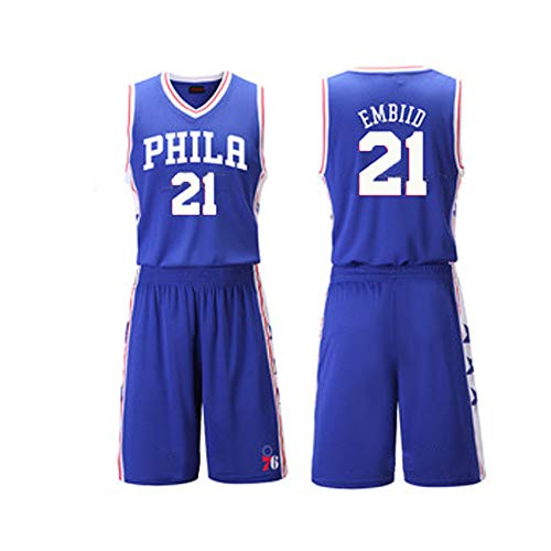76ers 21# Embiid Herren T-Shirt Basketball Trikot Fan Sweatshirt Retired Basketball Shirt Ärmelloses Shirt Shorts Gym Outdoor Sports Wettkampf Druck Gr. 6XL, blau