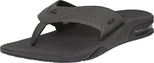 Reef Men's Fanning Flip Flop Sandals, Grey/Black, 10