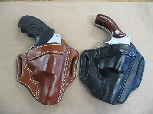 Leather 2 Slot Molded Pancake Belt Holster for Smith & Wesson S&W J Frame Revolver CCW TAN RH